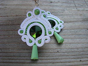Náušnice - White/Green...soutache - 7804742_