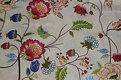 Textil - Látka Farebné kvety na smotanovej - 7805425_