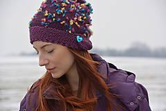 Čiapky - pompom fialová - 7802574_