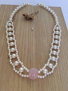 Náhrdelníky - perlový náhrdelník Swarovski, striebro - 7805798_