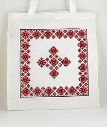Nákupné tašky - Nákupná taška červená výšivka - 7805664_