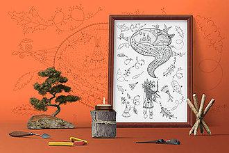 Grafika - Indiánske príbehy - Spiaca líška - čiernobiela ilustrácia / maľovanka - 7803311_