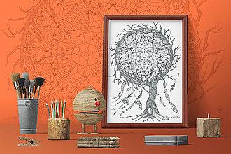 Grafika - Indiánske príbehy - Lapač snov - čiernobiela ilustrácia / maľovanka - 7803533_