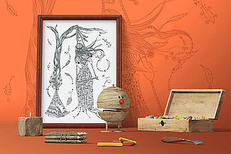 Grafika - Indiánske príbehy - Dievča na hojdačke - čiernobiela ilustrácia / maľovanka - 7803874_