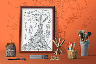 Grafika - Indiánske príbehy - Kúzelný vrch - čiernobiela ilustrácia / maľovanka - 7804239_