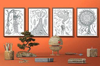Grafika - Indiánske príbehy - Séria 4 plagátov - čiernobiele ilustrácie / maľovanky - 7804851_