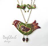 Sady šperkov - keramická sada ...pestrý vtáčik... - 7804353_
