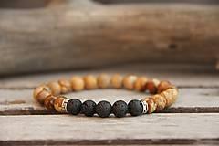 Šperky - Pánsky náramok jaspis, láva - 7805997_