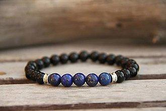 Šperky - Pánsky náramok z minerálov onyx a lapis lazuli - 7803423_