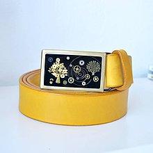 Opasky - Žltý kožený steampunkový opasok, čierna spona - 7810298_