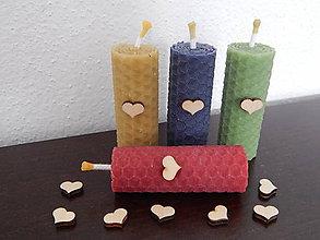 Darčeky pre svadobčanov - Sviečky z medzistienok - mini srdiečka - 7807980_