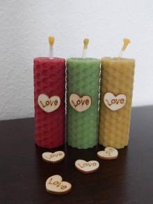Darčeky pre svadobčanov - Sviečky z medzistienok - LOVE - 7807997_