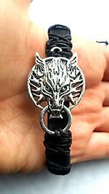 Náramky - Pletený náramok - vlk - 7809026_