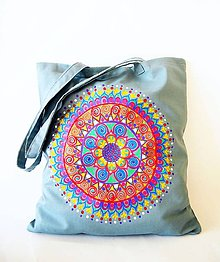 Nákupné tašky - Hippie ekotaška-nákupka sivomodrá - 7807950_