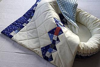 Textil - Detská patchworková deka s modrotlačou - 7811180_