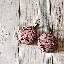 Náušnice - Náušnice na francúzskych háčikoch Staroružová čipka - 7810883_