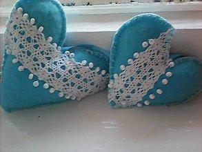Dekorácie - Modré srdiečka s korálkami- sada - 7807478_