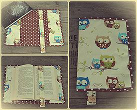 Úžitkový textil - Obal na knihu sovičkový - 7810349_