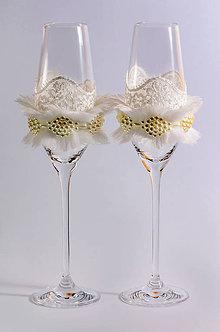 Nádoby - Svadobné poháre Zimný mráz - 7807633_