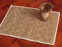 Úžitkový textil - Jarné jutové prestieranie s kvietkami - 7811198_