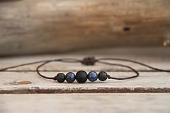 - Pánsky náramok na šnúrke onyx, lapis lazuli, láva - 7808787_