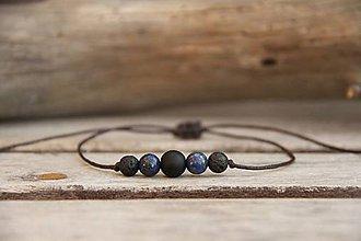Šperky - Pánsky náramok na šnúrke onyx, lapis lazuli, láva - 7808787_