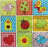 Papier - S922 - Servítky - lienka, domček, vtáčik, srdce - 7814018_