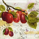 Papier - S928 - Servítky - slivka, strom, halúzka, list - 7814729_