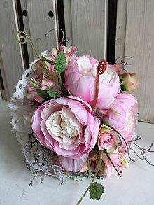 Kytice pre nevestu - svadobná kytica ružové pivónie - 7815666_