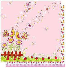 Papier - Birds Glitterpaper (romantiký papier na scrapbooking s  párom vtáčikov, 12x12) - 7814500_