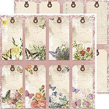 Papier - Reprint - Spring Tags (papier s menovkami s vintage kvetmi, 12x12) - 7815517_