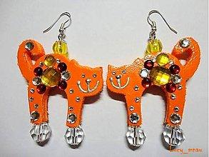 Náušnice - Náušničky mačičky-oranžové :) - 7814959_