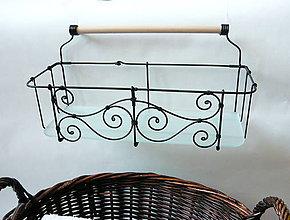 Nábytok - Závesný košík so sklom a drev. tyčkou - 7812594_