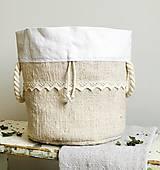 Podšité vrecko na chlieb a pečivo z ručne tkaného ľanu 3v1