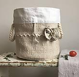 Úžitkový textil - Podšité vrecúško z ručne tkaného ľanu 3v1 - 7813725_