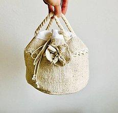 Úžitkový textil - Podšité vrecúško z ručne tkaného ľanu 3v1 - 7813732_