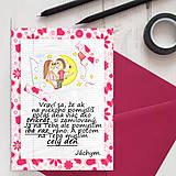 Papiernictvo - Mesačný svit (valentínka s textom) - kvety a srdiečka - 7814524_