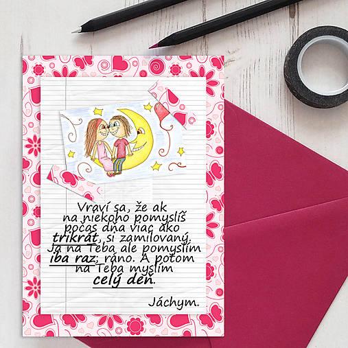 Mesačný svit (valentínka s textom) - kvety a srdiečka