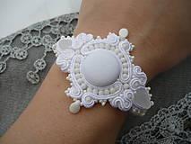 - SUPER CENA! Soutache Svatební náramek White Queen - 7817160_