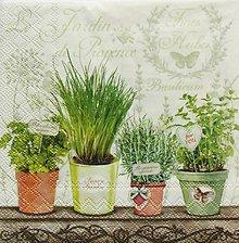 Papier - S931 - Servítky - herbs, bylinky, rozmarín, bazalka, vintage - 7816445_