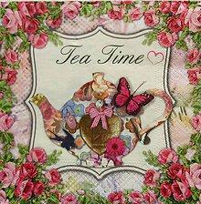 Papier - S935 - Servítky -  čaj, tea time, konvica, ruže, motýľ - 7817293_