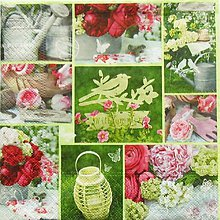 Papier - S938 - Servítky - jar, vták, krhla, ruža, kvietky, spring - 7818063_