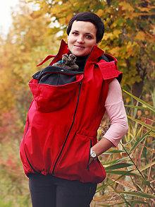 Kabáty - Bunda s odep.rukávy pro nošení dětí- červená - 7819981_