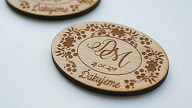 Darčeky pre svadobčanov - Drevená magnetka pre svadobčanov - 7817001_