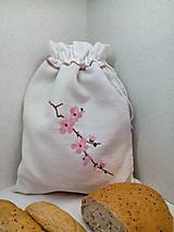 Ľanové vrecúško z tradičného ručne tkaného  plátna
