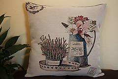 Úžitkový textil - Velký polštář- Konvice plná květů - 7819979_