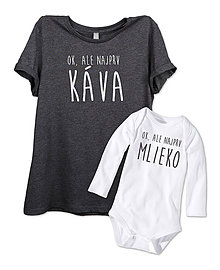 Detské oblečenie - Dámske tričko+detské body= súprava MAMA KÁVA - 7819220_
