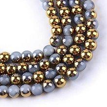 Korálky - SKO6656, Pokovované sklenené korálky/Šedo-Zlaté /10ks - 7819235_