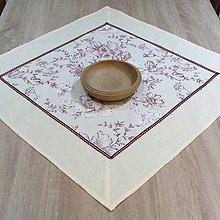 Úžitkový textil - Bordó a biele lúčne kvety na krémovej - obrus štvorec 65x65 - 7819649_