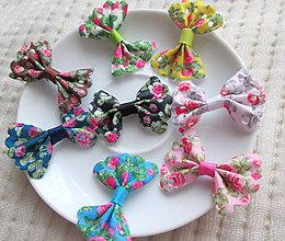 Polotovary - Textilná mašlička, rôzne farby, 35 x 22  mm / kus - 7819640_